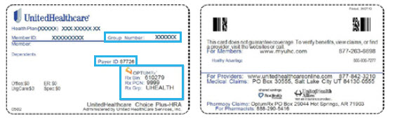 Example medical card showing a highlighted box around the group number and pharmacy information.