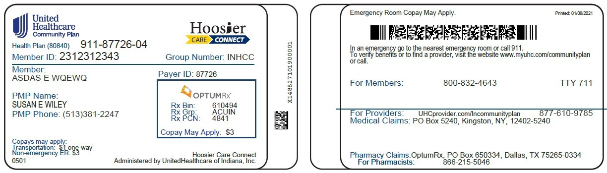 IN Hoosier Care Connect membership card front and back